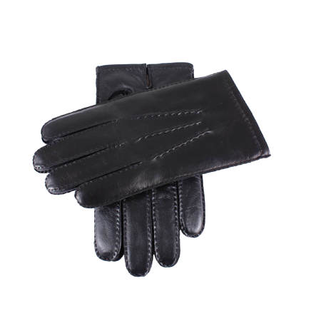 Black Touchscreen Cashmere Lined Leather Gloves