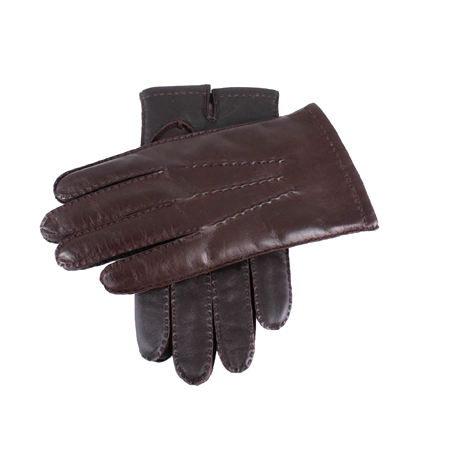 Brown Touchscreen Cashmere Lined Leather Gloves