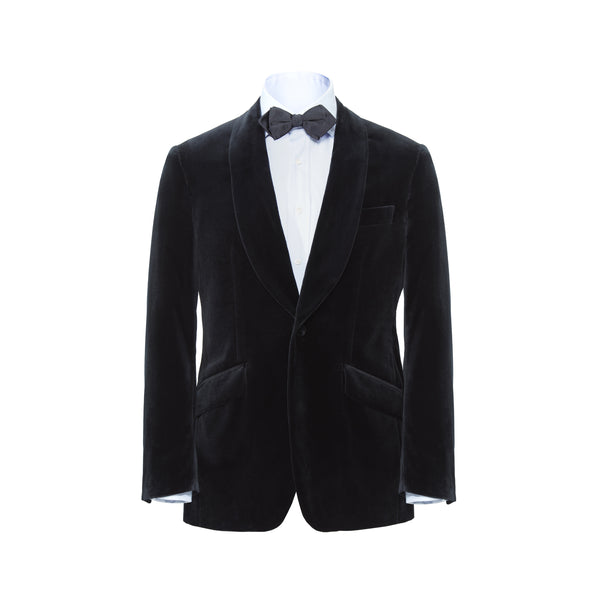 Midnight Blue Shawl Collar Velvet Jacket