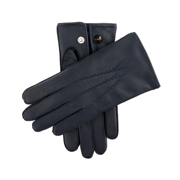 Navy Fur Lined Deerskin Leather Gloves