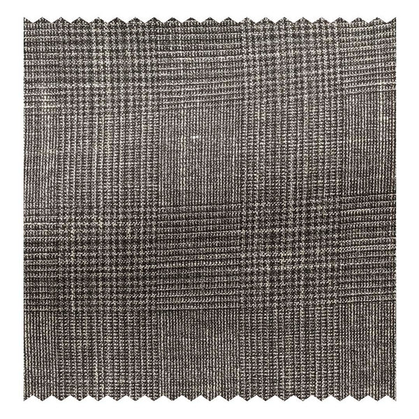 Chocolate & White with Blue Wool-Silk-Linen Glen Plaid