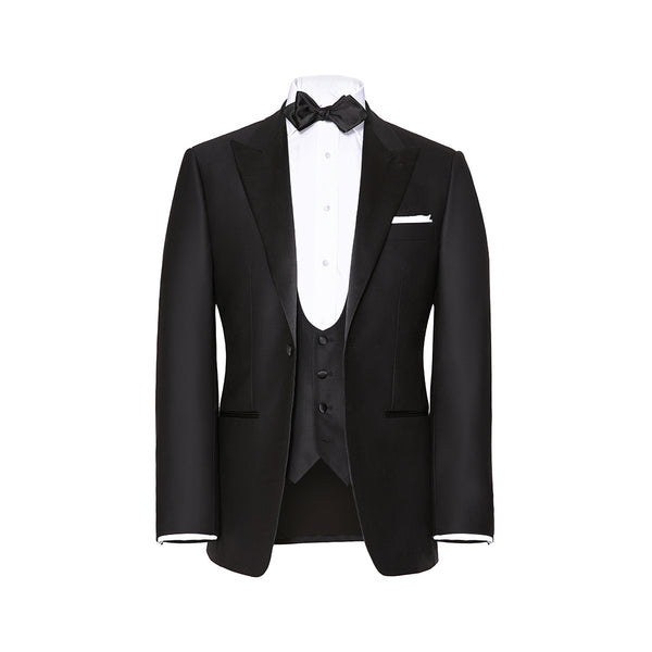 Black Peak Lapel 3 Piece Dinner Suit