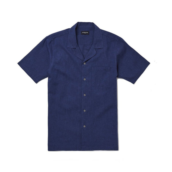 Navy Linen Camp Collar Shirt