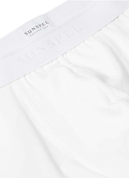 White Stretch Cotton Low Waist Trunk