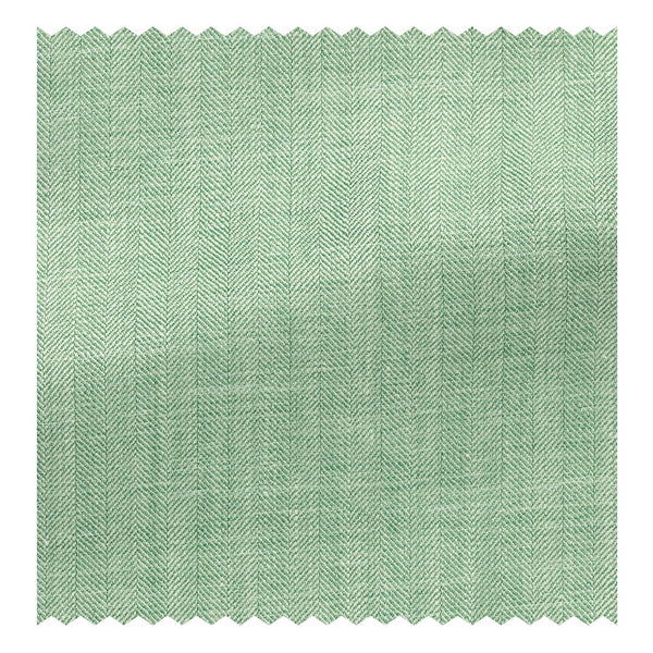 Spring Green & White Wool/Silk/Linen Herringbone