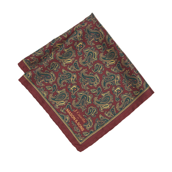 Burgundy Paisley Pocket Square