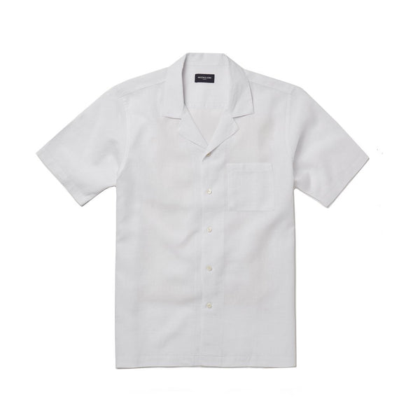 White Linen Camp Collar Shirt