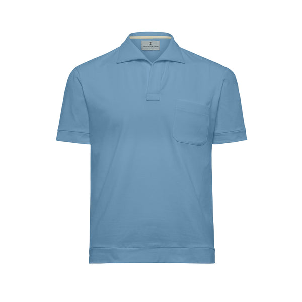 Pale Blue Solid Comber Polo Shirt