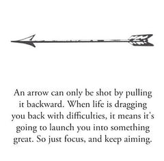 Kaizen Kiwi - an arrow gets pulled back before it is launched forward