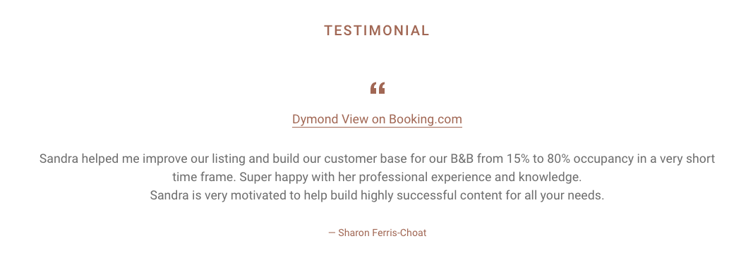 Kaizen Kiwi Testimonial from Dymond View on Booking.com