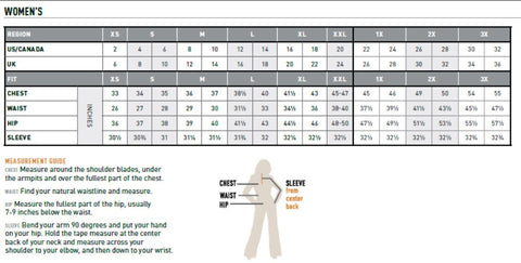 Ariat Western and Casual wear Women's clothes sizing chart