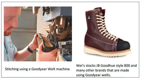 Goodyear welting machine; JB Goodhue boot with Goodyear welting