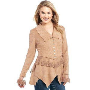 Cripple Creek Microsuede Button Front Jacket With Lace Cuff and Trim - Cripple Creek