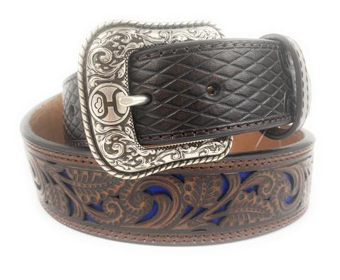 Hooey Men's Brown Tooled With Blue Inlay Western Belt - Hooey