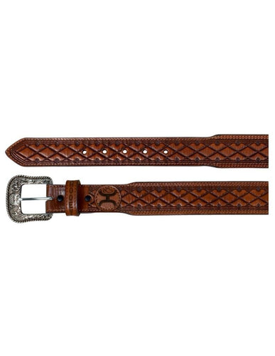 Hooey Men's Light Chestnut Brown Belt Embossed Diamond Logo - Hooey
