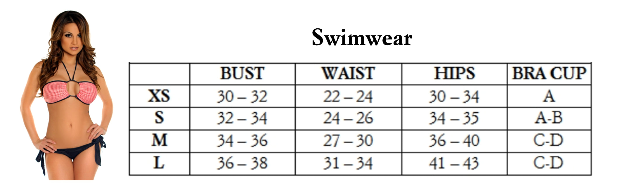 Swimwear Sizes from The Presley Boutique