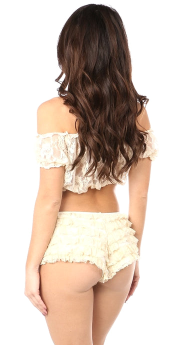 Plus Size Cream Sheer Lace Short Sleeve Peasant Top