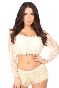 Plus Size Cream Lined Lace Long Sleeve Peasant Top