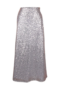Top Drawer Long Silver Sequin Skirt