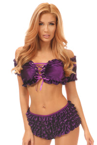 Plus Size Purple Velvet Ruffle Panty