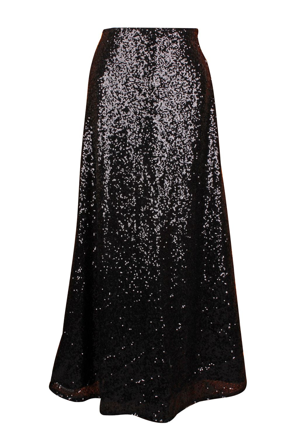 Top Drawer Long Black Sequin Skirt