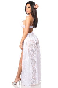 Plus Size Sheer White Lace Skirt