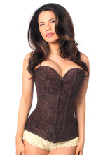 Load image into Gallery viewer, Lavish Dark Brown Lace Overbust Corset w/Zipper