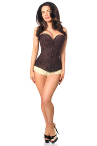 Lavish Dark Brown Lace Overbust Corset w/Zipper