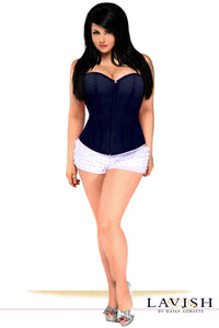 Lavish Plus Size Navy Blue Sweetheart Front Zipper Corset