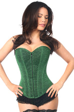 Load image into Gallery viewer, Lavish Green Glitter Front Zipper Corset