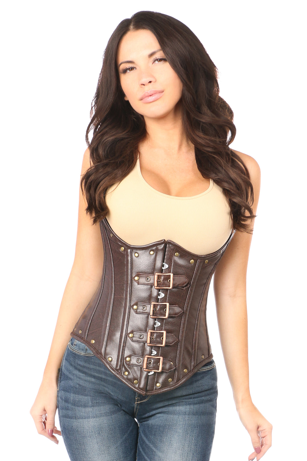 Top Drawer Steel Boned Distressed Faux Leather Underbust Corset Top