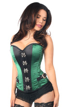 Load image into Gallery viewer, Top Drawer Green Buckle Steel Boned Corset