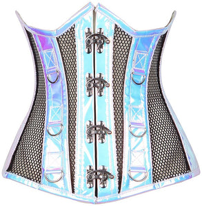 Top Drawer Blue Holo & Black Fishnet Steel Boned Under Bust Corset