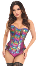 Load image into Gallery viewer, Top Drawer Rainbow Glitter PVC & Black Fishnet Steel Boned Over Bust Corset