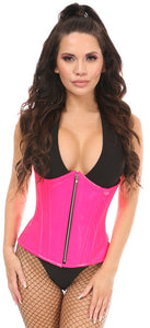 Top Drawer Hot Pink Patent PVC Steel Boned Under Bust Corset