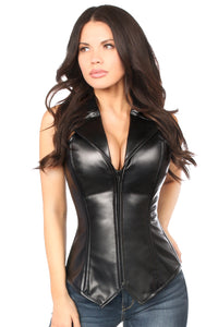 Top Drawer Faux Leather Collared Steel Boned Corset