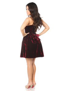 Top Drawer Steel Boned Red Velvet Empire Waist Corset Dress