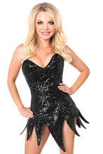 Load image into Gallery viewer, Top Drawer Black Sequin Steel Boned Corset Dress