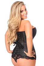Load image into Gallery viewer, Top Drawer Black Brocade Steel Boned Corset
