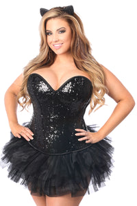 Top Drawer 3 PC Sequin Cat Corset Costume