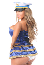 Load image into Gallery viewer, Top Drawer 4 PC Pin-Up Sailor Sequin Corset Costume