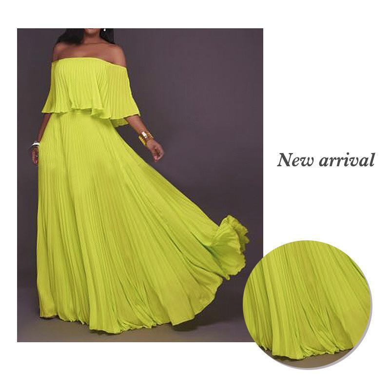 One-word Collar Pleated Maxi Prom Dress - PAPA BEAR HOME