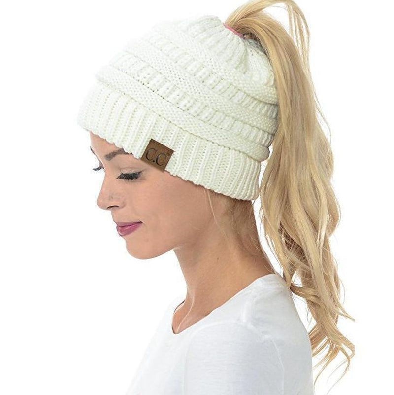 Soft Knit Ponytail Beanie Hat - PAPA BEAR HOME