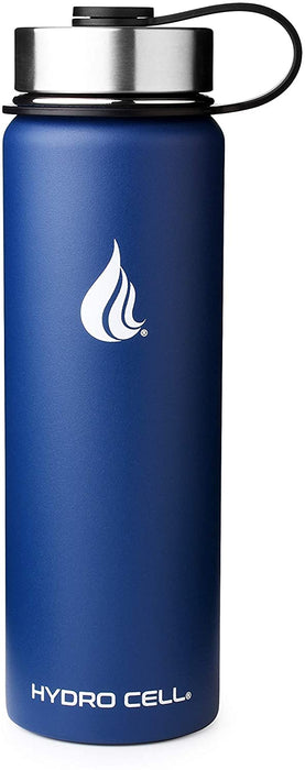 HYDRO CELL Stainless Steel Water Bottle w/Straw & Wide Mouth Lids - Navy Blue 24 oz