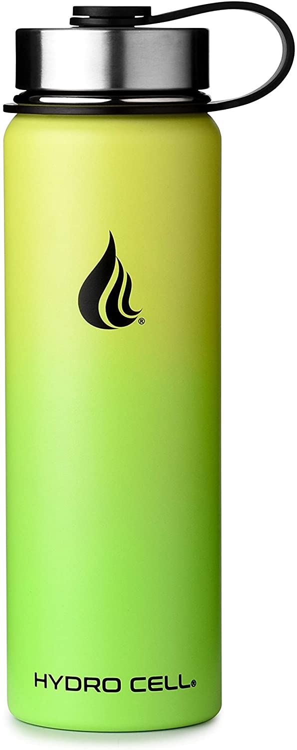 HYDRO CELL Stainless Steel Water Bottle w/Straw & Wide Mouth Lids - Neon/Neon 24 oz
