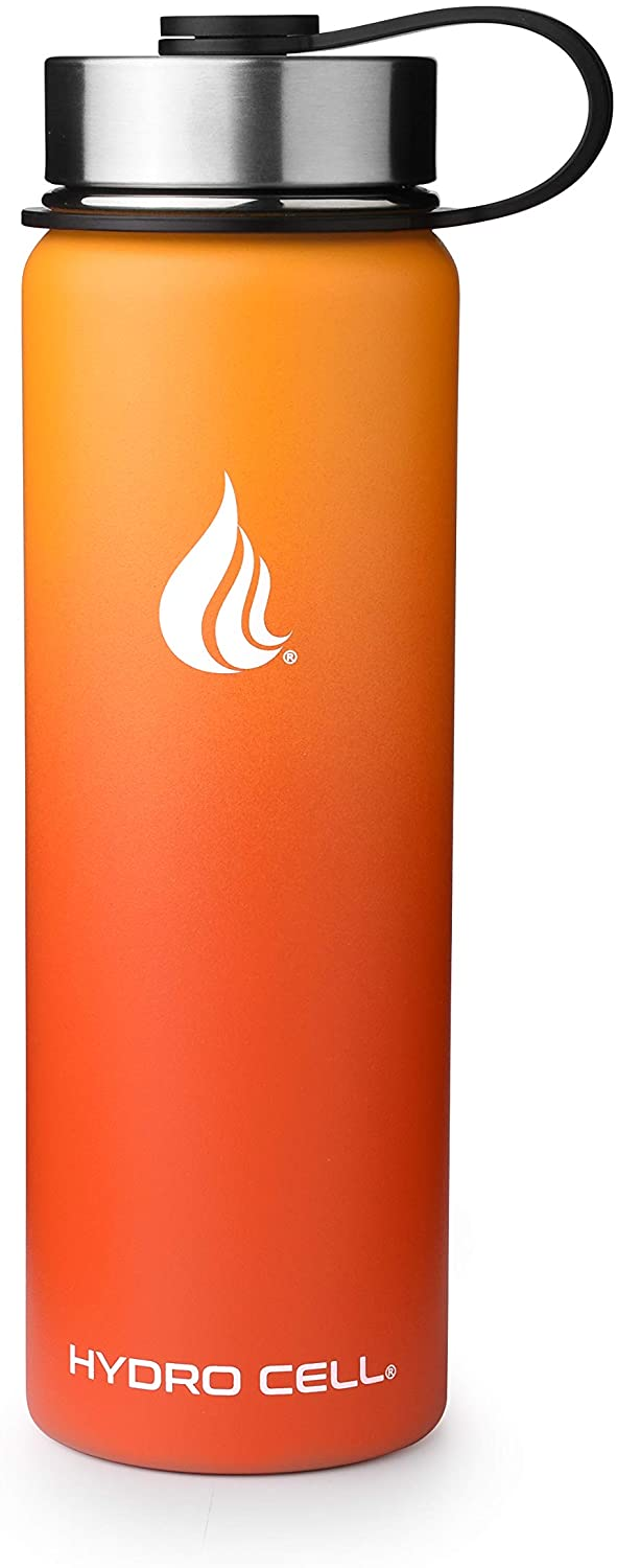 HYDRO CELL Stainless Steel Water Bottle w/Straw & Wide Mouth Lids - Red/Orange 24oz