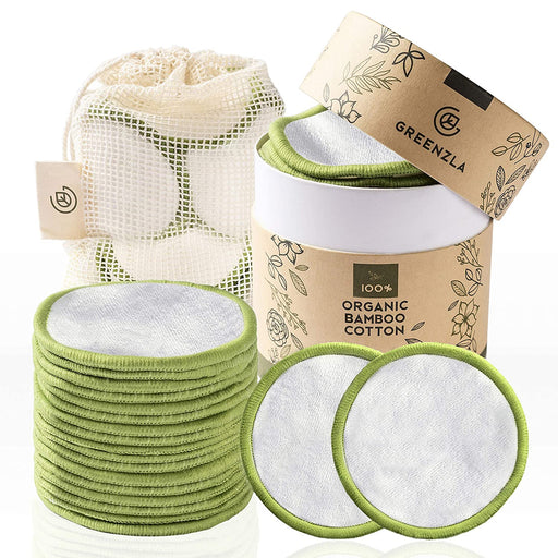 Greenzla Reusable Makeup Remover Pads (20 Pack) With Washable Laundry Bag And Round Box for Storage | 100% Organic Bamboo Cotton Pads For All Skin Types
