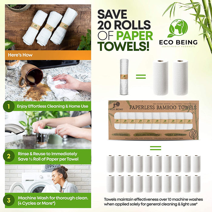 Eco Friendly, Sturdy, Reusable, Super Absorbent, Organic Bamboo Paper Towel