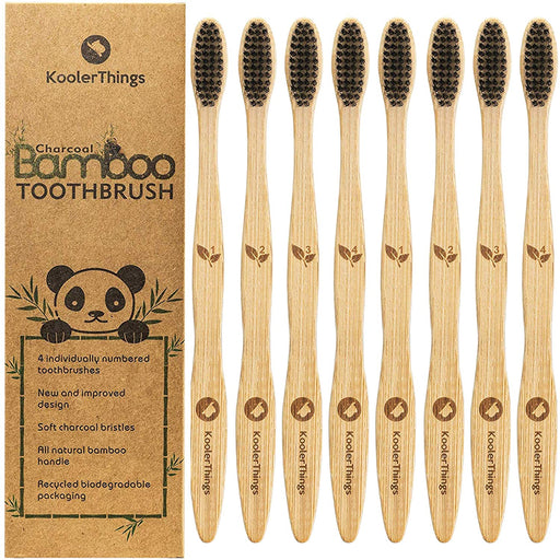 Biodegradable Natural Charcoal Bamboo Toothbrushes  - Two Packs of 4 | BPA Free Soft Bristles