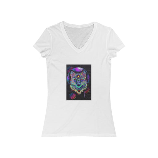 Wolf Spirit - Women's Jersey Short Sleeve V-Neck Tee